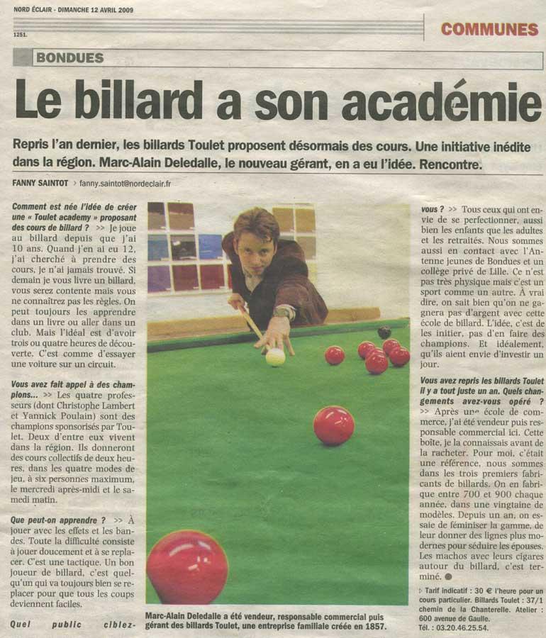 Billard-Toulet-presse-Nord-Eclair