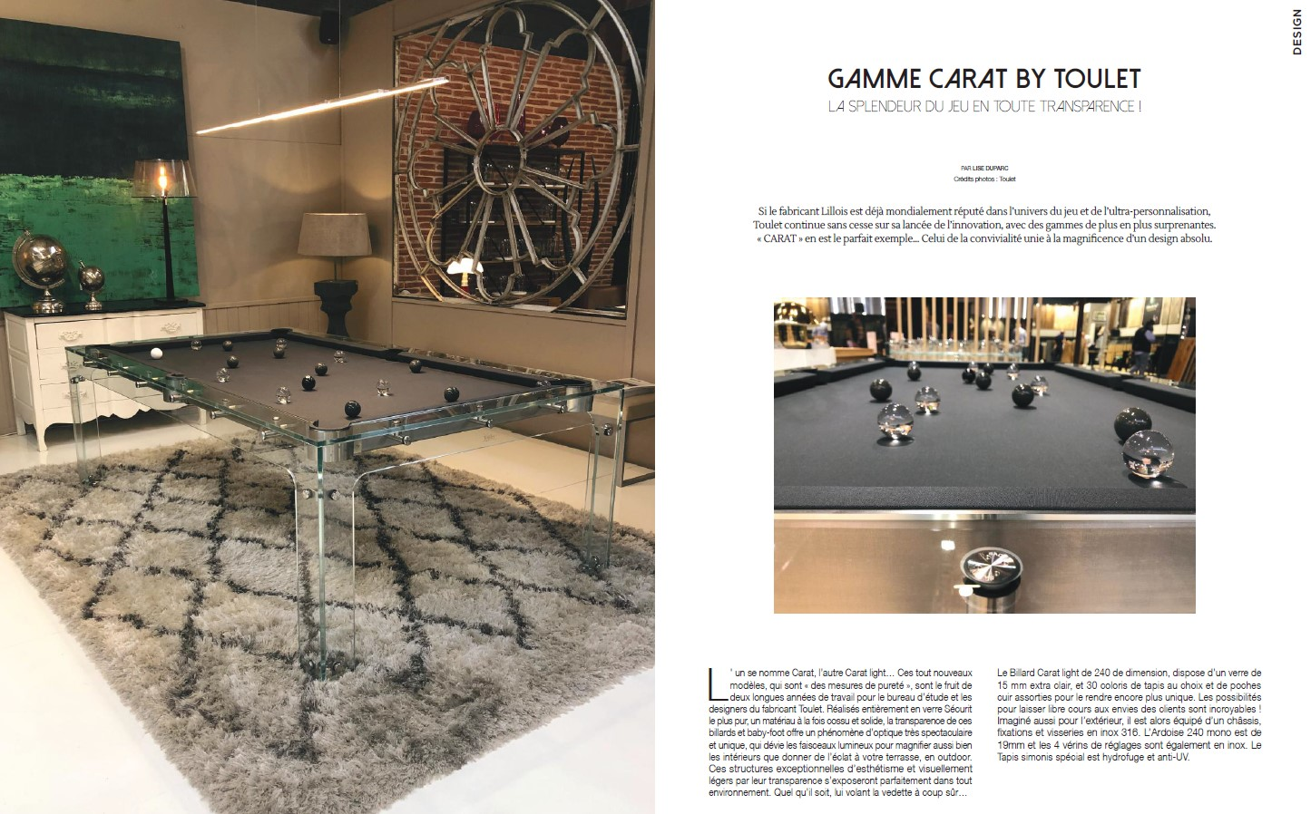 Billard en verre Carat Light - Icone - Billards Toulet - ARTICLE