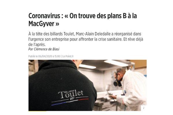 Interview Le Point - Adaptation de l'entreprise Toulet face a la crise sanitaire