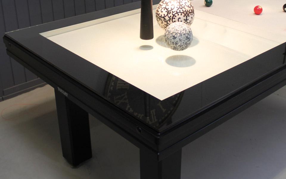 billard table-plateau-verre-noir