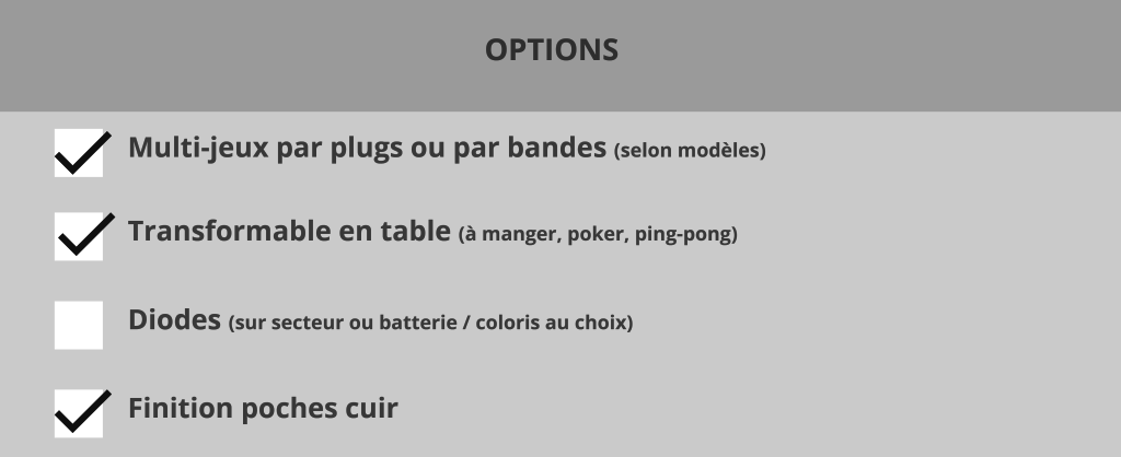 Billard pearl tableau fiches options