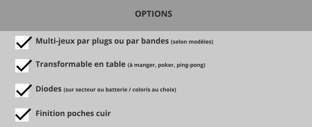 Tableau fiche options Billard Blacklight Billards Toulet