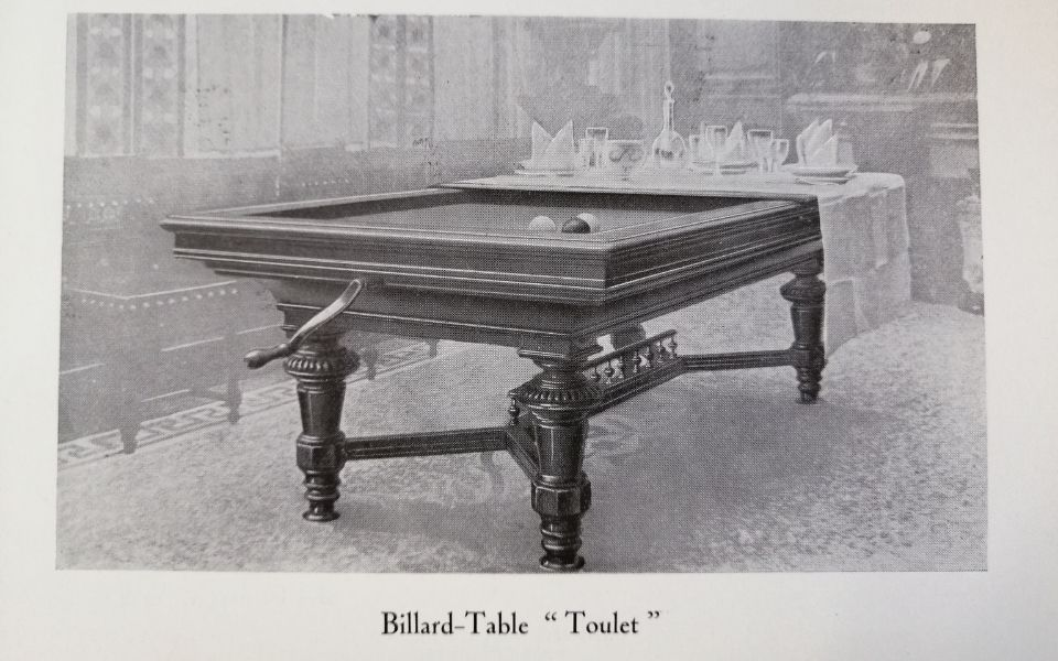 Maison Toulet inventeur du billard transformable en table